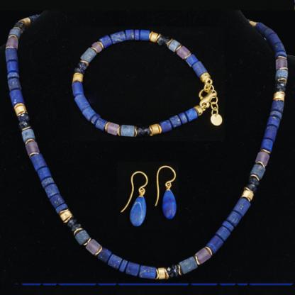 Set blau: Collier, Armband, Ohrhänger