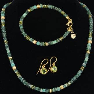 Set grün: Collier, Armband, Ohrhänger