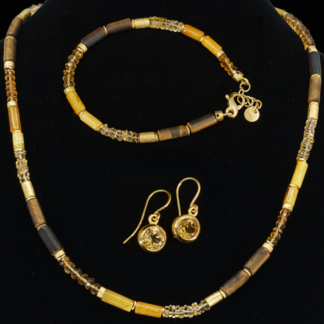 Set gelb: Collier, Armband, Ohrhänger